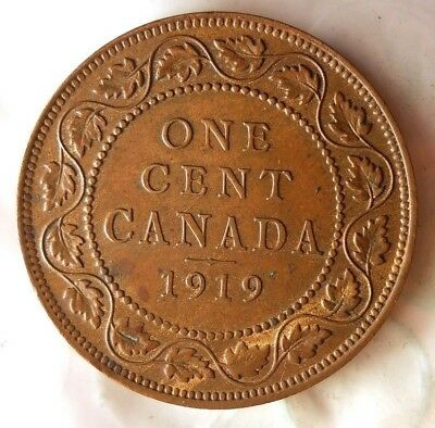 1919 CANADA CENT - Strong Headband - Great Vintage Coin - FREE SHIPPING - HV39