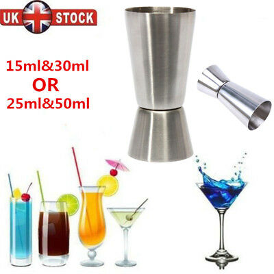 3/5X Stainless Steel Double Single Shot Measure Jigger Spirit Cocktail Drink Cup