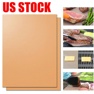 2/4Pcs Copper Grill Mat BBQ Pad Non Stick Barbecue Cooking Chef Bake Reusable