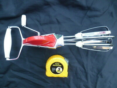 Vintage Retro Prestige Hand Whisk Beater Red White Plastic Trim Stainless Steel