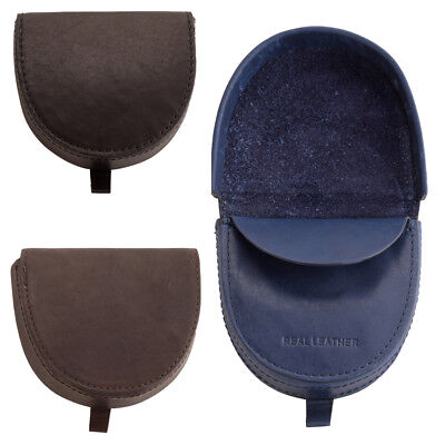 Mens Soft Premium Grade Round Edge Leather Tray Coin Purse with Note Section