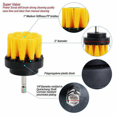 3Pcs/Set Yellow Tile Grout Power Scrubber Cleaning Drill Brush Tub Cleaner Combo