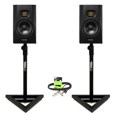 """Adam Audio T5V Active 5"""" DJ Studio Monitor Speaker (PAIR) with Stands + Cable"""