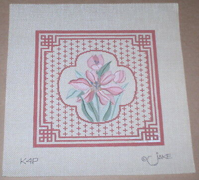 Pink Flowers w/ Decorative Border Handpainted Needlepoint Canvas