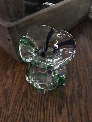 Art Glass Bulb Vase Mouth Blown Clearbluegreen 999 Picclick
