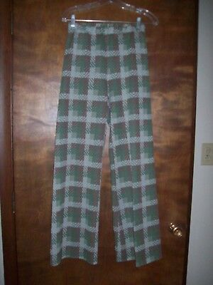 true vintage 70's women's plaid polyester pants  wide legs browns greens