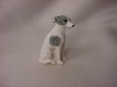 WHIPPET gray white puppy TiNY Dog HAND PAINTED FIGURINE Resin MINIATURE MINI new