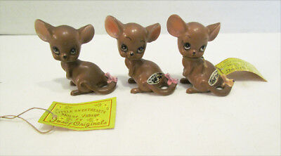 Josef Originals Mice Mouse Trio W/ 2 Tags Little Sweethearts Mouse Village Cute