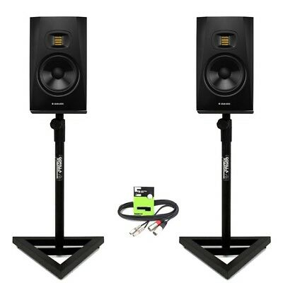 "Adam Audio T7V Active 7"" DJ Studio Monitor Speaker (PAIR) with Stands + Cable"