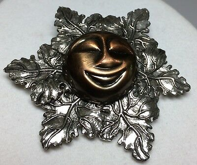 Sylvia Dahl Copper Smiling Sun Neiman Marcus Scarf Clip Pin Brooch Silver Signed