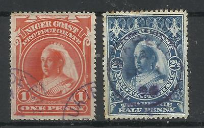 NIGERIA - NIGER COAST 1894 No wmk 1d Vermilion cancelled portions of rare QUA IB