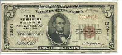 1929 Series National Currency $5 New Kensington, PA Type 1 Design 204 Circ. 8