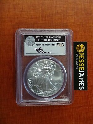 2014 Silver Eagle Pcgs Ms70 First Strike Box #1 Mercanti Signed Label!