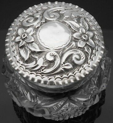 Ornate Floral Lid Sterling Silver & Cut Glass Dressing Table Jar - Antique