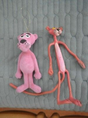 Vintage Bendable Rubber Toy Figure Pink Panther & Christmas Tree Ornament: used