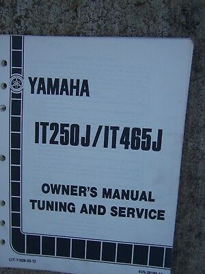 1981 Yamaha IT250J IT465J Competition Motorcycle Owner Tuning & Service Manual L