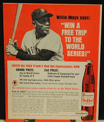 1968 Willie Mays of San Francisco Giants Franks Red Hot Sauce photo print ad