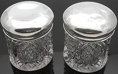 Pair Sterling Silver Lidded Glass Vanity Jars - Birmingham 1917 - Antique