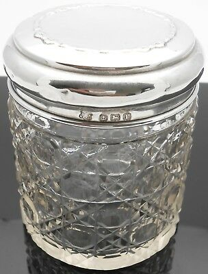 Sterling Silver Larger Vanity Jar - Hobnail Glass - Birmingham 1916 Antique