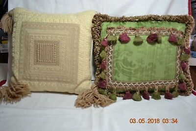 TWO Vintage Victorian Green and Beige Tan  Accent Throw Pillow