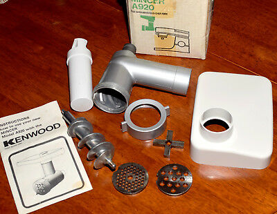 Vintage Kenwood Chef A920 Mincer Attachment with 2 discs and instruction.