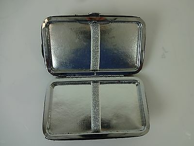Vintage Beautiful Leather Cigarette Case Black Frame Mid Century Silver Int