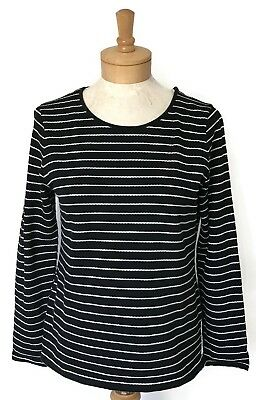 27d1914678bc83 Talbots Womens Petite Top MP Black Striped Cotton Blend Long Sleeves Casual