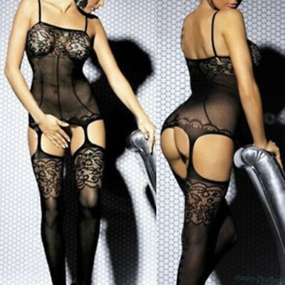 Women Floral Lace Mesh Bra Garter Belts Stockings Sexy Lingerie Sex Toy Gift 1Pc