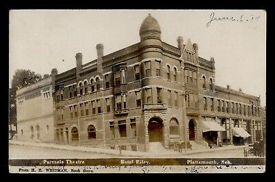 Vintage Rppc Plattsmouth Ne Nebraska Cancel Theatre Hotel Real Photo Postcard