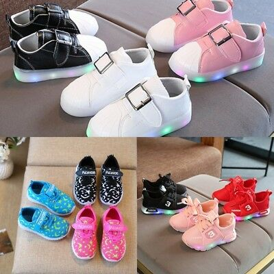 LED Kid Shoes Boys Girls Light Up Sneakers Toddler Baby Luminous Casual Trainers