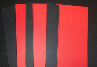 120 Papers 14cm x 6.5cm ~BLACK & RED ~ great for SCRAPBOOKING/CARDMAKING