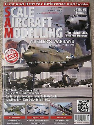 Scale Aircraft Modelling April 2017 Airfix Wheeler's Warhawk Saab J29 Tunnan