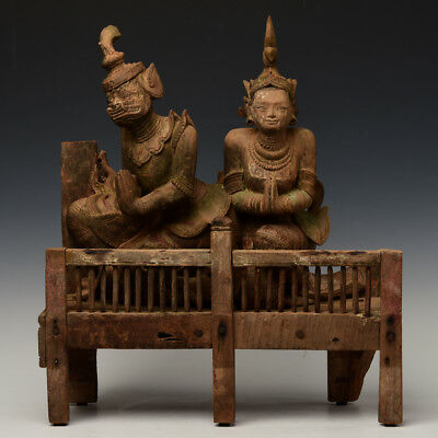 Early 19th Century, Early Mandalay, Antique Burmese Wooden Seated Figures