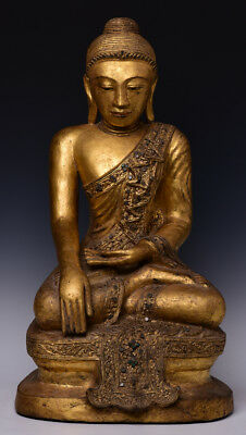 Early 19th Century, Early Mandalay, Antique Burmese Paper Mache' Seated Buddha
