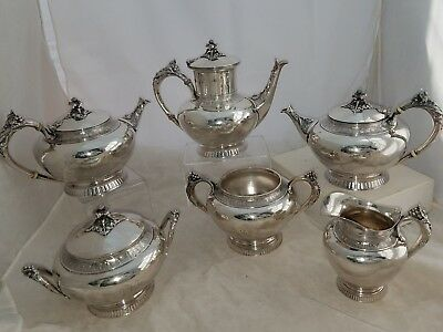 Sterling GORHAM 6pc Coffee & Tea Set w/ floral & berry c1872 114.90 ozt ~NoResv