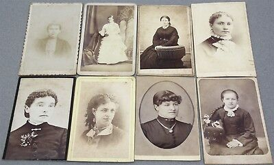Lot of 8 CDV PHOTOS PORTRAITS MOSTLY YOUNGER WOMEN LATE 1800's FASHION