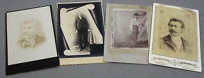 Lot of 4 CARD MOUNTED 1890's PHOTOS OLD YOUNG MEN'S HEAD & SHOULDERS & STANDING