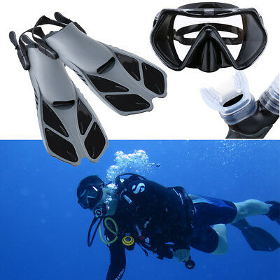 2018 Snorkel Scuba Diving Mask Goggles Glasses Diving Swimming Fins Flippers Set