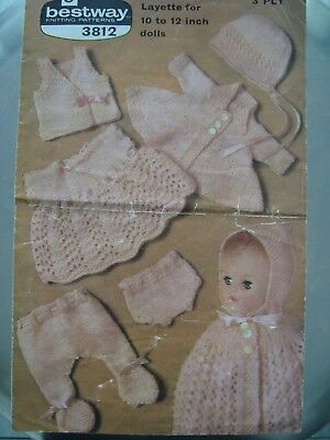 "Bestway 3812 Layette For 10-12"" Dolls Vintage Knitting Pattern"