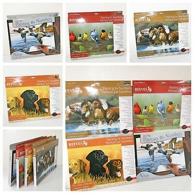 4 x Reeves Deluxe Painting by Numbers Labradors Horses Blue Bills Rail Birds