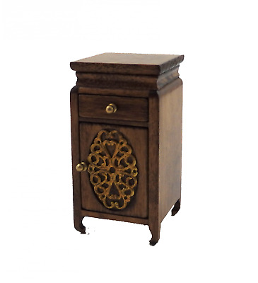 Melody Jane Dolls House Walnut Bedside Cabinet Nightstand Bedroom Furniture 1:12