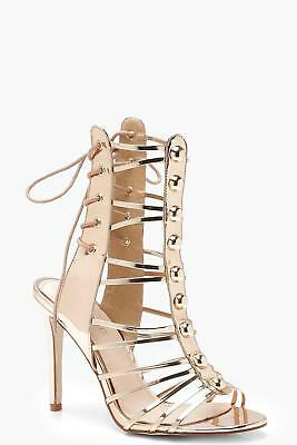 36689fe0bd5 BOOHOO WOMENS ELLIE Cage Lace Up Block Heels - $56.00 | PicClick