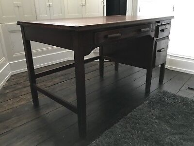Beautiful large vintage wooden desk with drawers