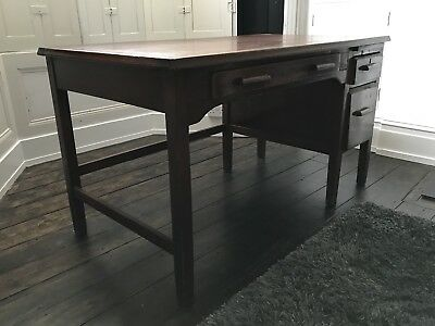 Vintage Dark antique large wooden desk with drawers - BEAUTIFUL Cool. 👍🏼