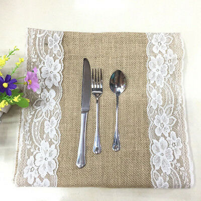 Vintage Burlap Hessian Table Runner with Lace Jute Country Table Decorations