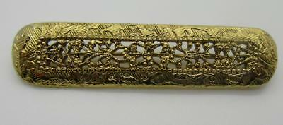 Beautiful Vintage Goldtone Scrolling Filigree Bar Brooch Pin Textured Lovely