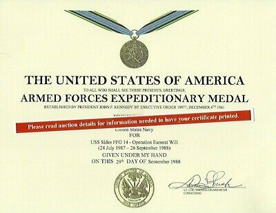 Armed Forces Expeditionary Medal replacement certificate