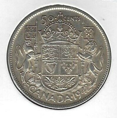 1942 Canada 50 Cents Coin F-15