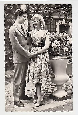 Vintage 1950s 60s BW Photo Pc Young Man Lady Love Couple Passionate