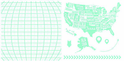 American Crafts We R Memory Keepers Letterpress Plate Set - Map, 9 Pieces